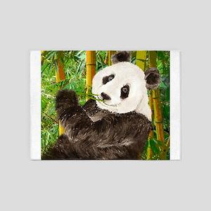 Watercolor Panda Asian Bear 5'x7'Area Rug