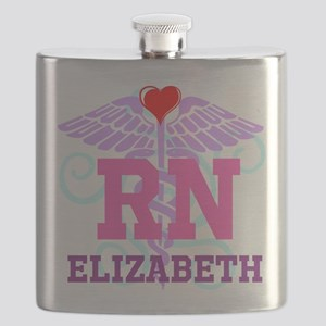 Personalized RN Swirl and Heart Flask