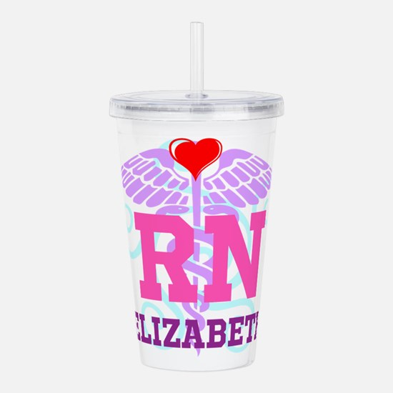 Personalized RN Swirl and Heart Acrylic Double-wal