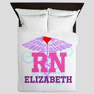 Personalized RN Swirl and Heart Queen Duvet