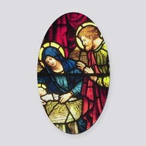Nativity in Stained Glass Oval Car Magnet