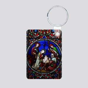 Stained Glass Nativity Aluminum Photo Keychain