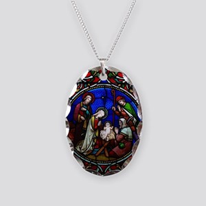Stained Glass Nativity Necklace Oval Charm