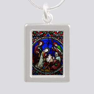 Stained Glass Nativity Silver Portrait Necklace