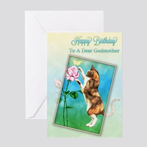 To a godmother, Birthday with a playful cat Greeti