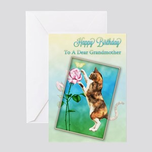 To a grandmother, Birthday with a playful cat Gree