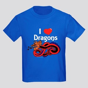 I Love Dragons Kids Dark T-Shirt
