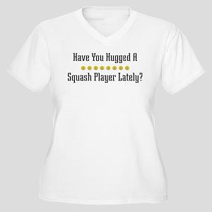 Hugged Squash Player Women's Plus Size V-Neck T-Sh