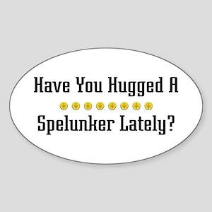Hugged Spelunker Oval Sticker