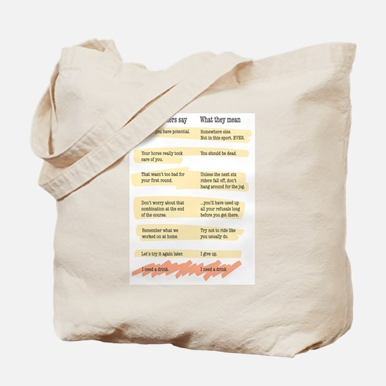 Trainer Quotes Tote Bag