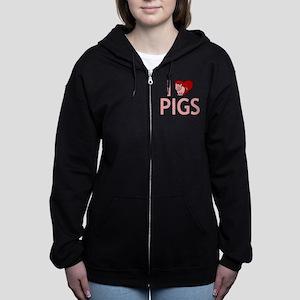 I Love Pigs Women's Zip Hoodie
