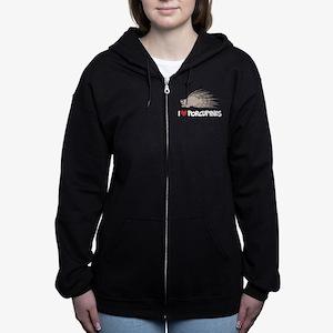 I Love Porcupine Women's Zip Hoodie