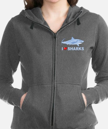 I Love Sharks Women's Zip Hoodie