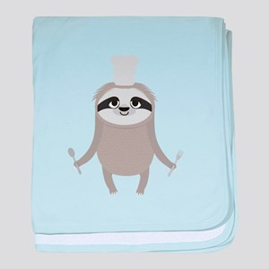 Sloth cook chef with fork and spoon baby blanket