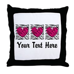Zebra Pink and Black Wild Child Girl Throw Pillow