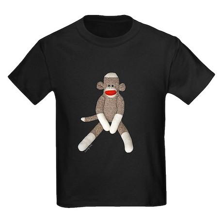 Sock Monkey Sitting Kids Dark T-Shirt