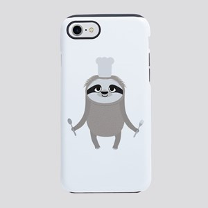 Sloth cook chef with fork and iPhone 7 Tough Case