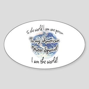 Water Spaniel World2 Oval Sticker