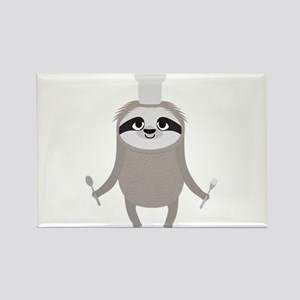 Sloth cook chef with fork and spoon Magnets