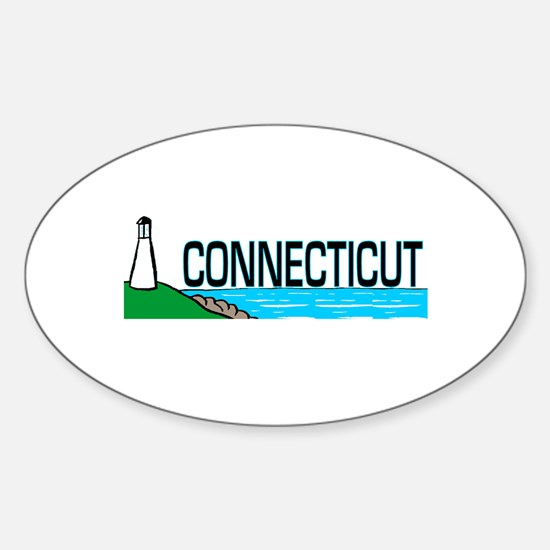 Connecticut Ligthouse Oval Decal