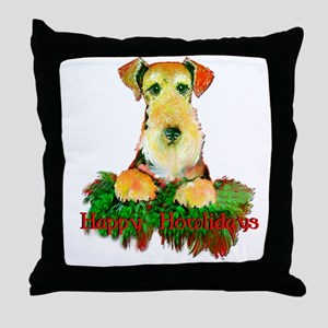 Airedale Holiday Throw Pillow