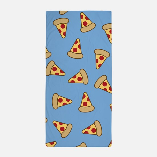 Cute Pizza Pattern Beach Towel