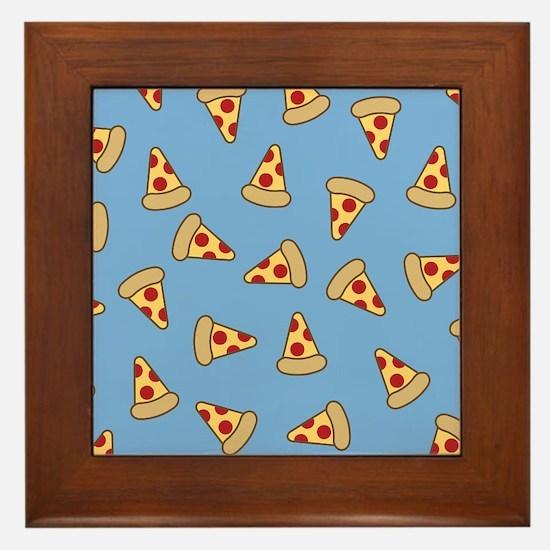 Cute Pizza Pattern Framed Tile