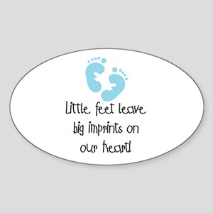 Baby Footprints Blue Oval Sticker