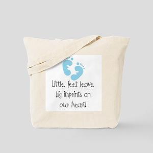 Baby Footprints Blue Tote Bag