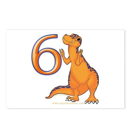 Kids Dino 6th Birthday Gifts Postcards (Package of