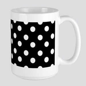 black and white polka dots pattern Large Mug