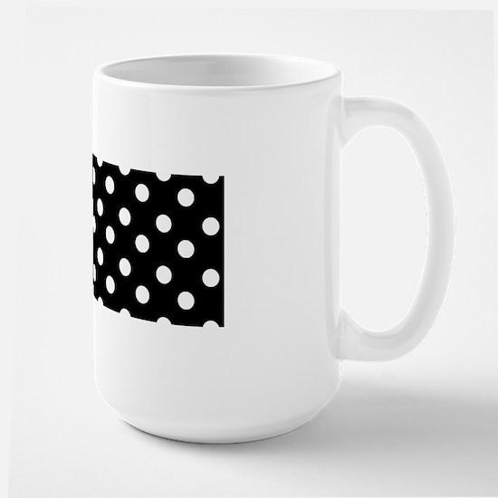 black and white polka dots pattern Large Mug