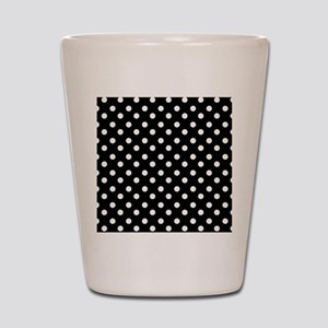 black and white polka dots pattern Shot Glass