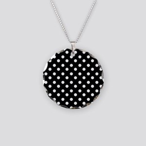 black and white polka dots p Necklace Circle Charm
