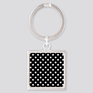 black and white polka dots pattern Square Keychain