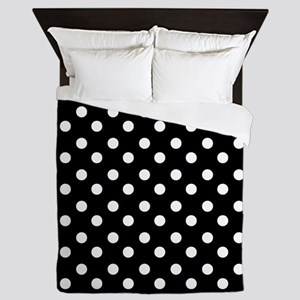 black and white polka dots pattern Queen Duvet