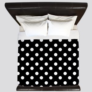 black and white polka dots pattern King Duvet
