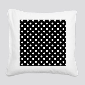 black and white polka dots pa Square Canvas Pillow