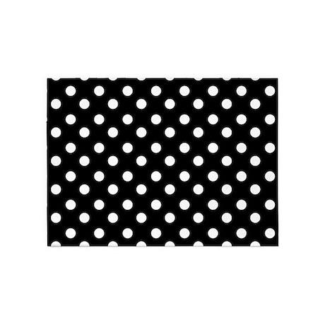 Black And White Polka Dots Pattern 5u0027x7u0027Area Rug