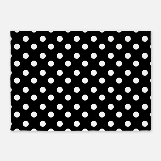 black and white polka dots pattern 5'x7'Area Rug