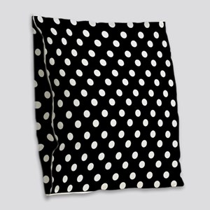 black and white polka dots pat Burlap Throw Pillow