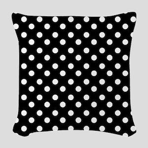 black and white polka dots pat Woven Throw Pillow