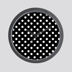 black and white polka dots pattern Wall Clock