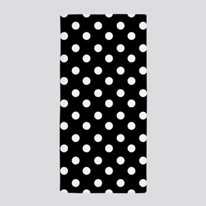 black and white polka dots pattern Beach Towel