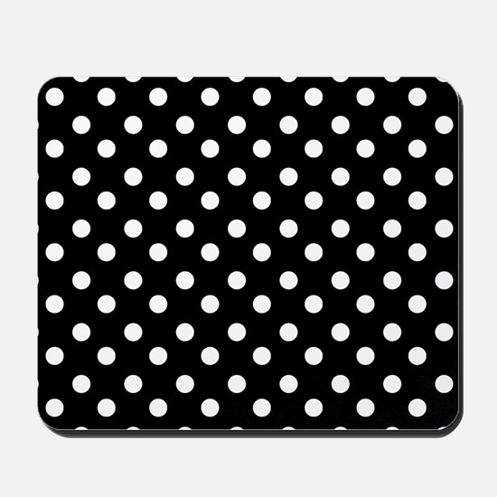 black and white polka dots pattern Mousepad