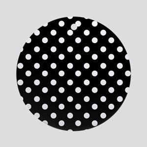 black and white polka dots patter Ornament (Round)