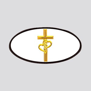 Golden Cross With 2 Hearts Patches