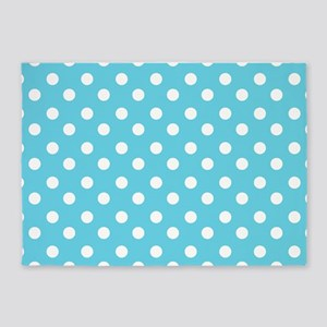 blue and white polka dots pattern 5'x7'Area Rug