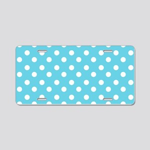 blue and white polka dots p Aluminum License Plate