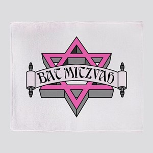 Mitzvah with Pink scroll & Star of David Throw